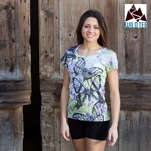 BUTTERFLIES WOMEN TECH T-SHIRT